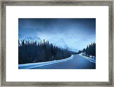 Highway Through The Canadian Rockies Framed Print by Kjell Linder