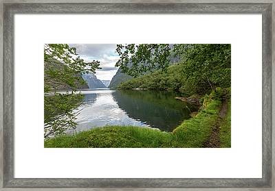 Framed Print featuring the photograph Hiking The Old Postal Road By The Naeroyfjord, Norway by Andreas Levi