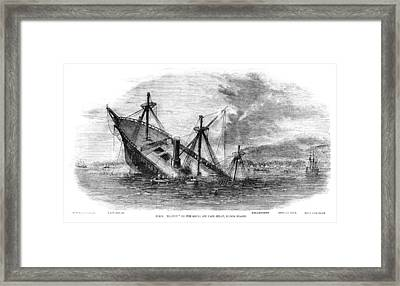 Hms Transit Wrecked Off Banca Island Framed Print by Whitemay