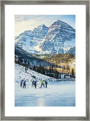 Hockey On Maroon Lake Maroon Bells Aspen Colorado Framed Print