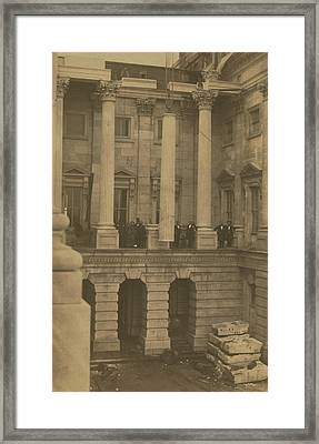Hoisting Final Marble Column At United States Capitol Framed Print