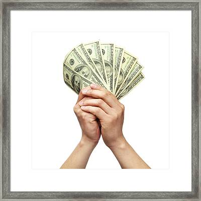 Holding Money With Both Hands Framed Print by Kativ