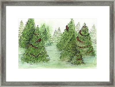 Holiday Trees Woodland Landscape Illustration Framed Print