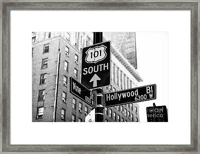 Hollywood And Vine Street Sign Framed Print