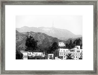 Hollywood Sign Black And White Framed Print