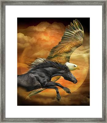Framed Print featuring the mixed media Horse And Eagle - Spirits Of The Wind  by Carol Cavalaris