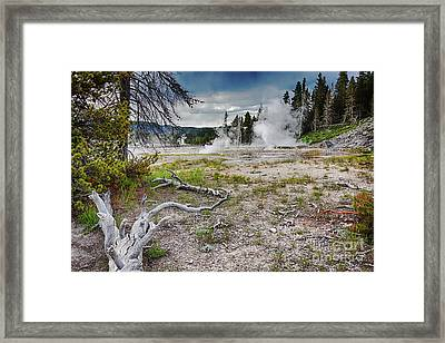 Framed Print featuring the photograph Hot Springs And Geysers Landscape In Yellowstone by Tatiana Travelways