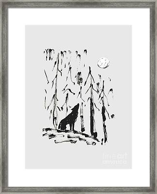 Framed Print featuring the painting Howl #2 by Maria Langgle