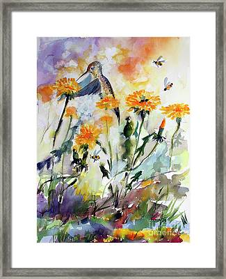 Framed Print featuring the painting Hummingbird And Dandelions by Ginette Callaway