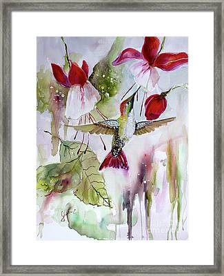Framed Print featuring the painting Hummingbird And Flowers by Ginette Callaway
