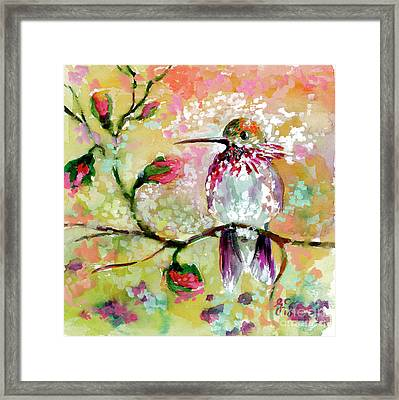 Framed Print featuring the painting Hummingbird Pink Blossoms by Ginette Callaway