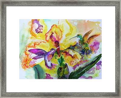 Framed Print featuring the painting Hummingbird Song Watercolor by Ginette Callaway