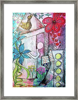I Opened The Curtain And There Was Spring  Framed Print