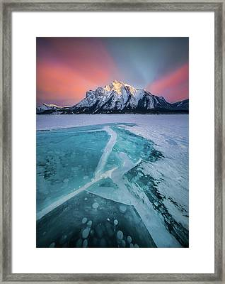 Framed Print featuring the photograph Ice Cracking / Abraham Lake, Alberta, Canada  by Nicholas Parker