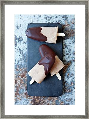 Ice Cream Bars Dipped In Chocolate Framed Print by Cultura Rf/line Klein