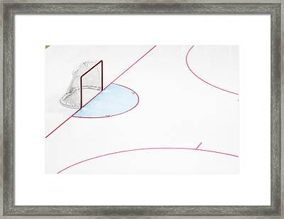 Ice Hockey Goal Net And Empty Rink Framed Print