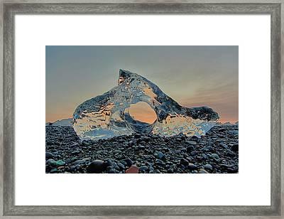 Iceland Diamond Beach Abstract  Ice Framed Print