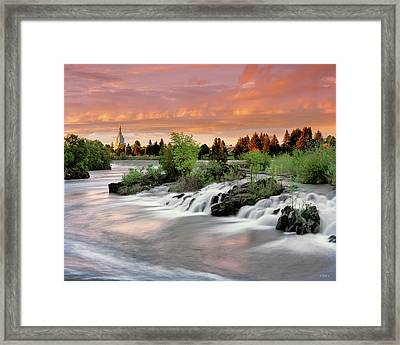 Framed Print featuring the photograph Idaho Falls by Leland D Howard