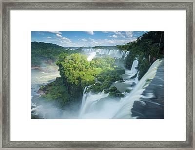Igauzu Falls In Argentina Framed Print by Grant Ordelheide