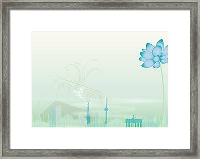 Illustration Of A Blue Flower And Framed Print by Stock4b-rf
