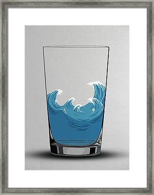 Illustration Of Choppy Waves In A Water Framed Print