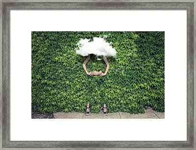 Image Of Young Woman On Ivy Plants And Framed Print by Francesco Carta Fotografo