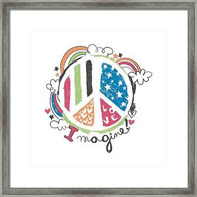 Imagine Love And Peace - Baby Room Nursery Art Poster Print Framed Print