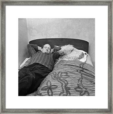 In Bed With A Donkey Framed Print by Ronald Dumont