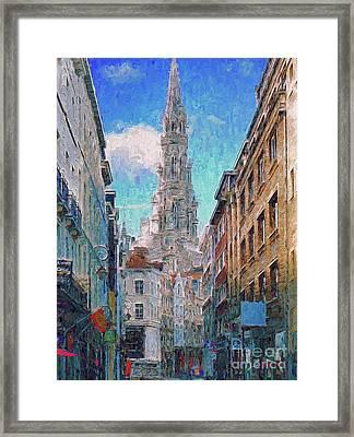 In-spired  Street Scene Brussels Framed Print