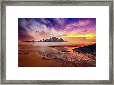 Incoming Tide At Sunset Framed Print