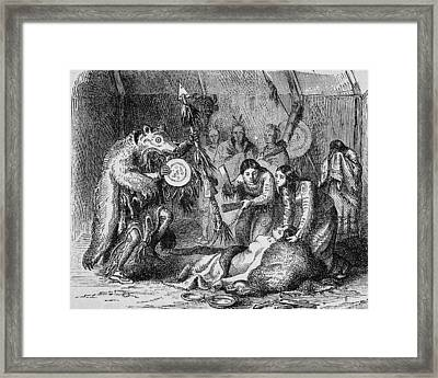 Indian Medicine Men At Work Framed Print by Kean Collection