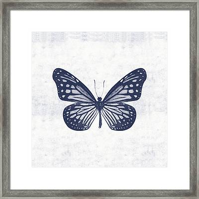 Indigo And White Butterfly 2- Art By Linda Woods Framed Print