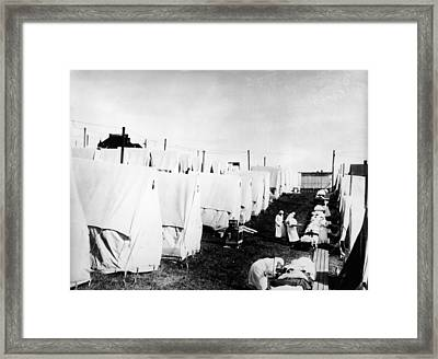 Influenza Epidemic Tent Hospital Camp Framed Print by Hulton Archive