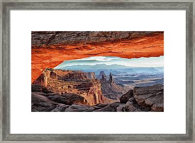 Inside Mesa Arch At Sunrise Framed Print by Jeff R Clow