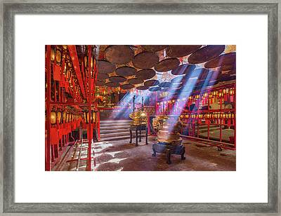 Inside The Man Mo Temple,hong Kong Framed Print by Photography By Sanchai Loongroong