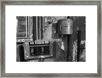 Framed Print featuring the photograph Inside The Projection Room - Bw by Kristia Adams