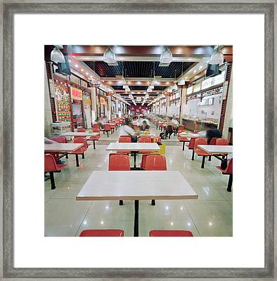 Interior Of Fast Food Restaurant In Framed Print by Martin Puddy