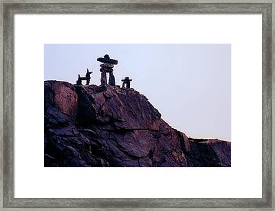 Framed Print featuring the photograph Inukshuk Family In Labrador, Canada by Tatiana Travelways