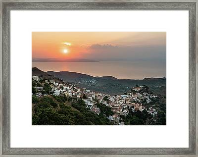 Ioulis Town Sunset, Kea Framed Print