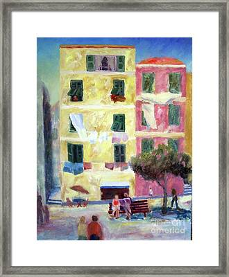 Italian Piazza With Laundry Framed Print