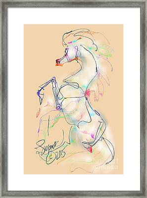 Ivory Horse Rising Framed Print