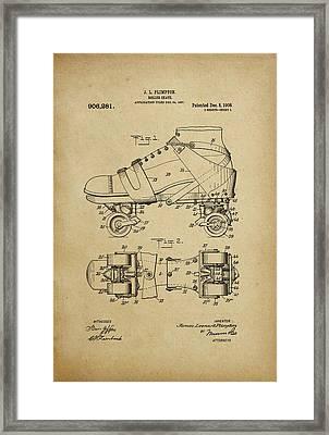 J. L. Plimpton, Roller Skate, Patented Dec.8,1908. Framed Print
