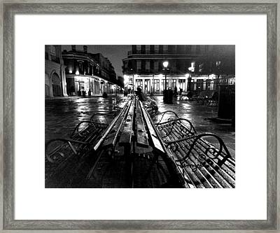 Framed Print featuring the photograph Jackson Square In The Rain by Amzie Adams
