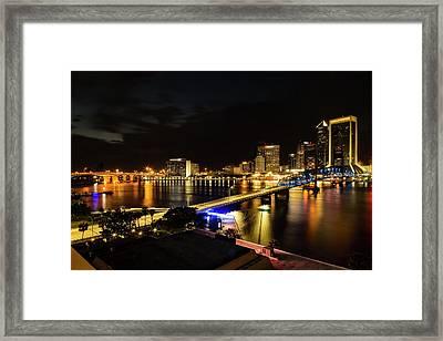 Jacksonville Skyline By Night Framed Print