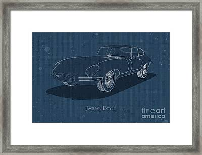 Jaguar E-type - Front View - Stained Blueprint Framed Print