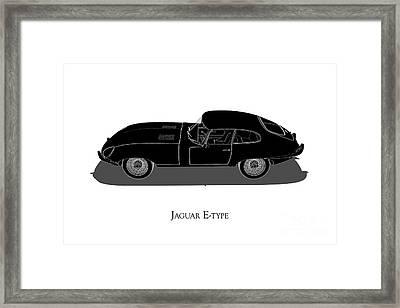 Jaguar E-type - Side View Framed Print