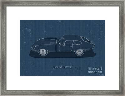 Jaguar E-type - Side View - Stained Blueprint Framed Print