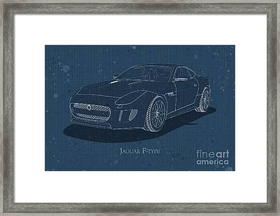 Jaguar F-type - Front View - Stained Blueprint Framed Print