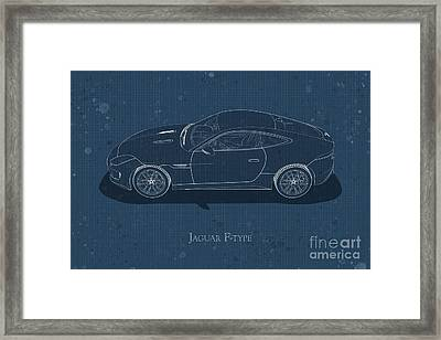 Jaguar F-type - Side View - Stained Blueprint Framed Print