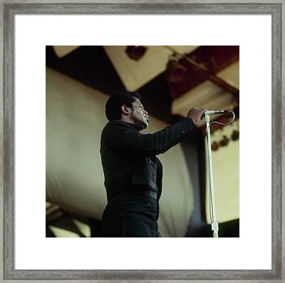 James Brown Performs At Newport Framed Print by David Redfern